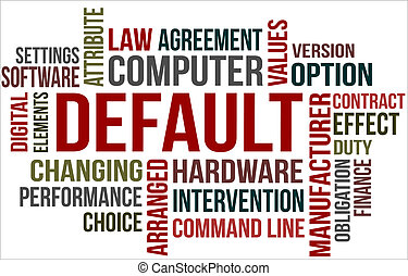 A word cloud of Default related items