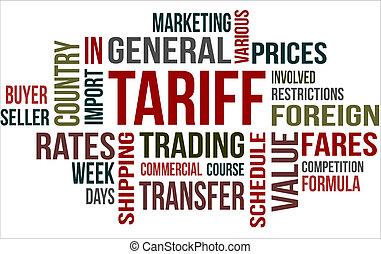 Tariff - A word cloud of Tariff related items