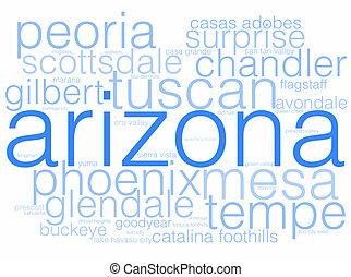 Arizona - A word cloud using the cities of Arizona.