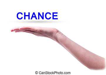 a word of chance above one hand on a white screen