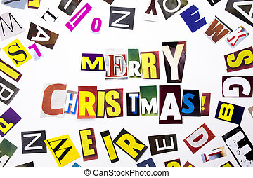 A word writing text showing concept of Merry Christmas made of different magazine newspaper letter for Business case on the white background with copy space