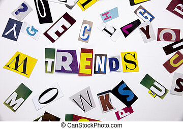 A word writing text showing concept of TRENDS made of...