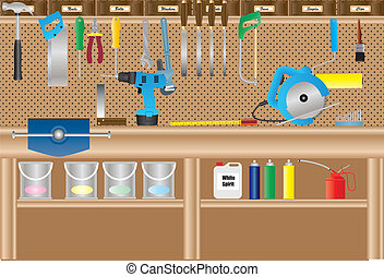 Workbench - A Workbench with Cordless Drill, Circular Saw, ...