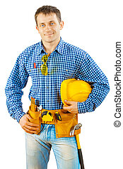 a worker holding helmet isolated