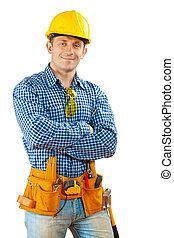 a worker in helmet