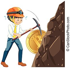 A Worker Mining Cyber Coin illustration