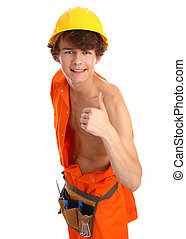 A workman with thumbs up