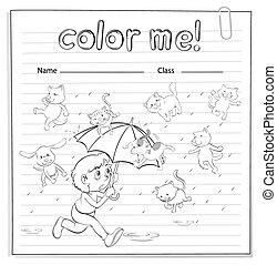 A worksheet showing a rain with cats and dogs on a white...