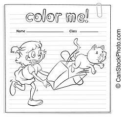 A worksheet with a girl and a cat