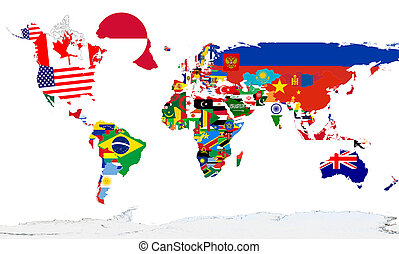 world map - A world map with national flags