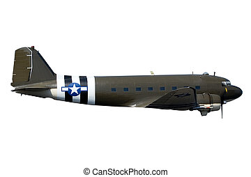 C-47 - A World War Two C-47 Airplane Isolated on White