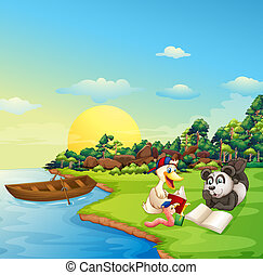A worm, a duck and a panda reading at the riverbank -...