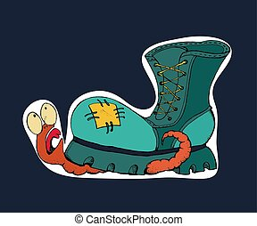 A Worm Crushed By A Shoe. Sticker