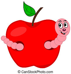 a worm eating an apple