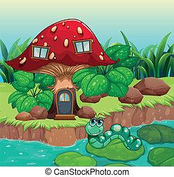 A worm near the red mushroom house