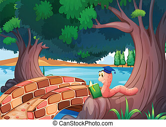 A worm reading a book above the roots of a tree