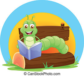 A worm reading a book - Illustration of a worm reading a ...