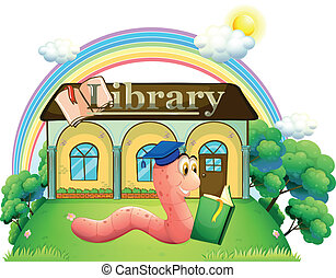 A worm wearing a graduation cap reading in front of the library