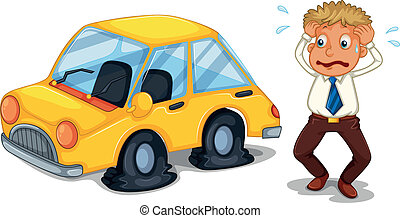 A worried man beside a car with flat tires - Illustration of...