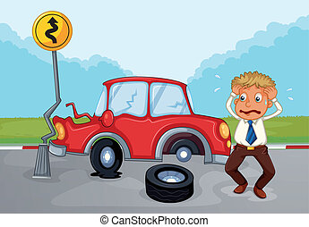 A worried man beside his damaged car - Illustration of a...