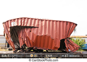 A wrackage of steel container taken from train yard - A...