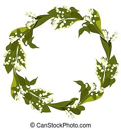 A wreath of lilies of the valley on a white background. Vector graphics.