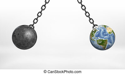 A wrecking ball and an Earth globe swinging together on iron chains away from each other.