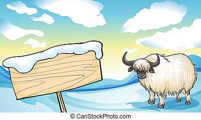 A yak in the snow - Illustration of a yak in the snow