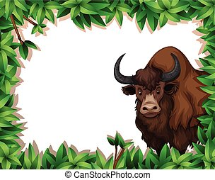 A yak on nature frame