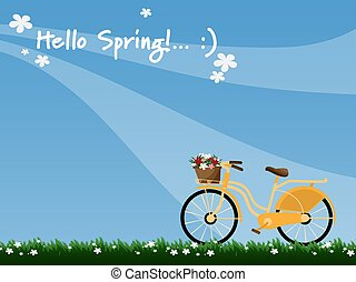 A yellow bicycle with wicker basket full of spring flowers viewed from the side and Hello Spring text in blue sky background.