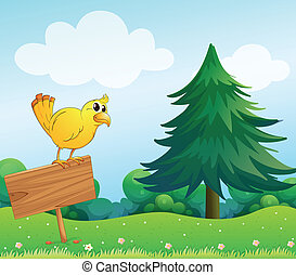 A yellow bird at the top of an empty wooden signboard
