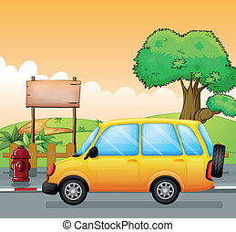 A yellow car and an empty signage - Illustration of a yellow...