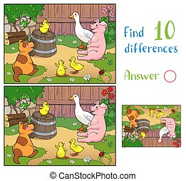 A yellow chicken cheers puppy, pig and ducks with mother duck. Find 10 differences.