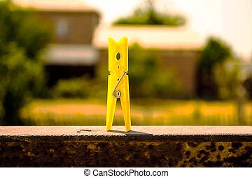 yellow clothes peg - a yellow clothes peg