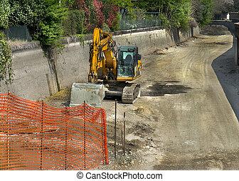 excavator on the ground
