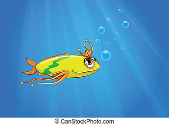 A yellow fish swimming under the sea