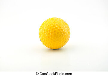 A yellow golf ball isolated on white background