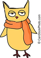 A yellow owl vector or color illustration