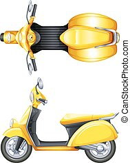 A yellow scooter - Illustration of a yellow scooter on a ...