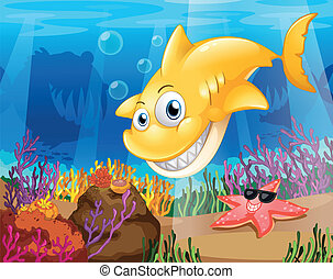 A yellow shark under the sea with starfish and corals -...
