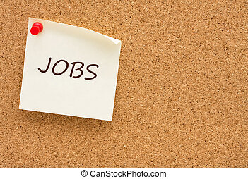 Job posting - A yellow sticky note on a corkboard, Job...