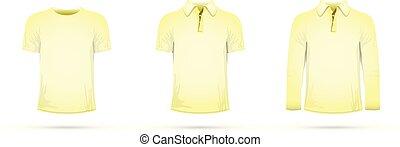 a yellow t-shirt