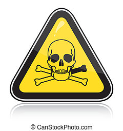 A yellow triangular warning sign with a skull. Attention toxic, poison.