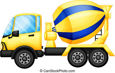 A yellow truck - Illustration of a yellow truck on a white...