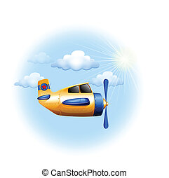 A yellow vintage plane in the sky