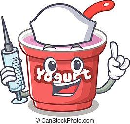 A yogurt hospitable Nurse character with a syringe