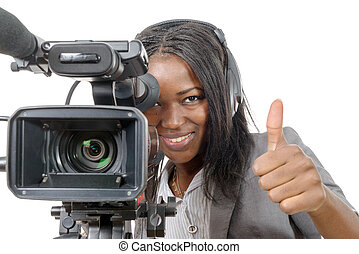 young African American woman with professional video camera