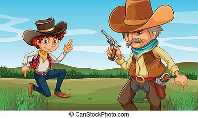 A young and an old cowboy at the hill