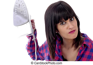 angry woman holding an iron