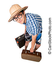 A young attractive man with glasses and two suitcases ready to t